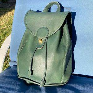 Vintage Green Coach Leather Backpack